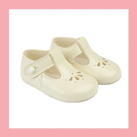 Girls Ivory Patent T-Bar Baypod Pram Shoes